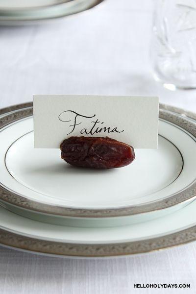 Ramadan ideas: date place card holder from Hello Holy Days. #ramadan #eid