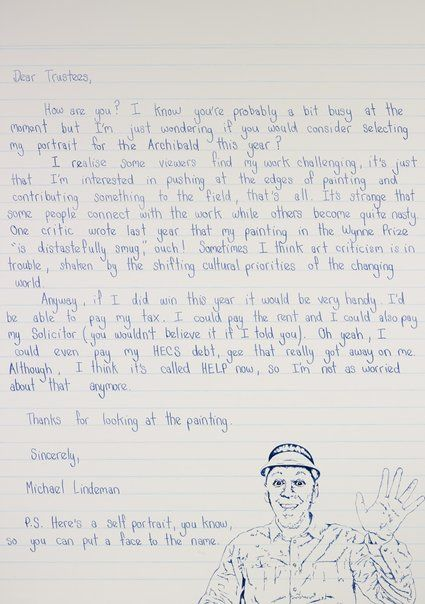 Michael Lindeman: Dear Trustees (self-portrait) :: Archibald Prize 2013 :: Art Gallery NSW