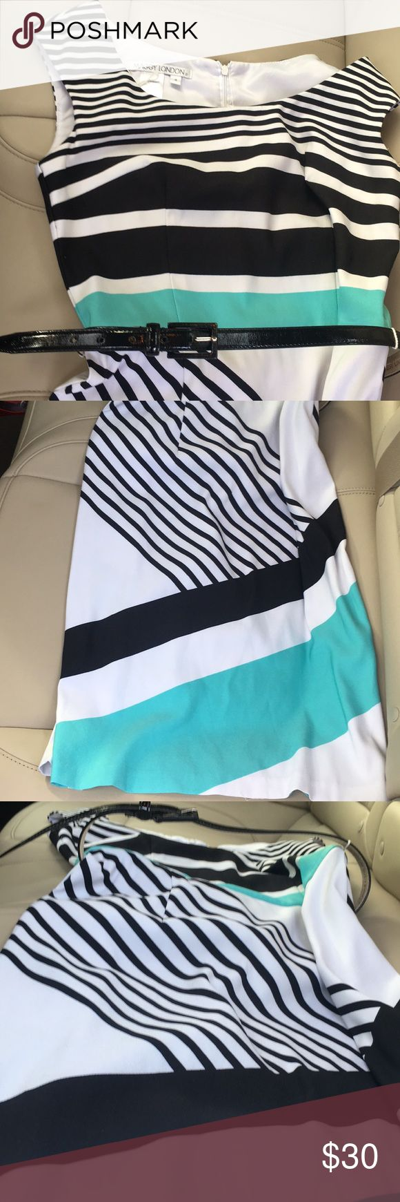 Maggy London Dress Like new. No flaws. White colored with black and blue stripes. Belted. Fits true to size. Maggy London Dresses