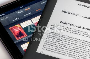 Screen comparison of Kindle Fire table and Keyboard ebook Royalty Free Stock Photo