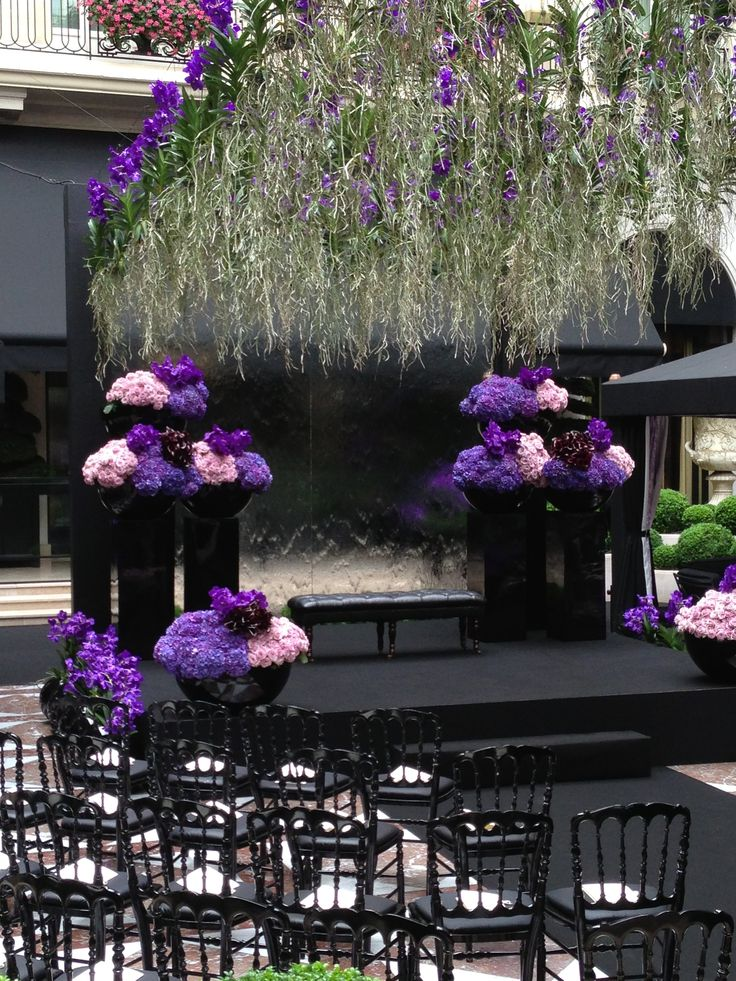 Under a #purple #rain of #orchids by @Jeff Leatham at @Four Seasons Hotel George V Paris @Four Seasons Bridal