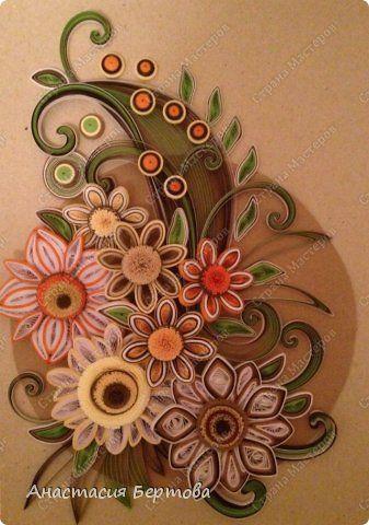 Картина панно рисунок Квиллинг Цветочный узор Бумажные полосы фото 12