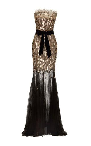 Monique Lhuillier Sequin Column Gown