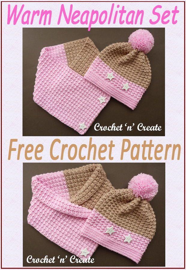 Crochet Warm Neapolitan Set Free Crochet Pattern In 2020 Crochet Cowl Pattern Crochet Patterns Free Crochet