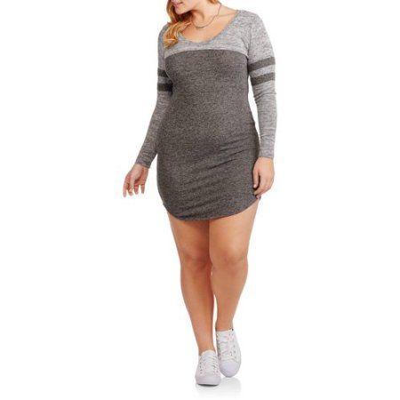 Plus Size No Comment Juniors' Plus V-Neck Football Dress, Size: 1XL, Black