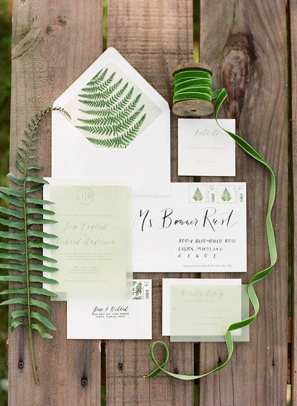 Green Detail Wedding Invitations Justin DeMutiis
