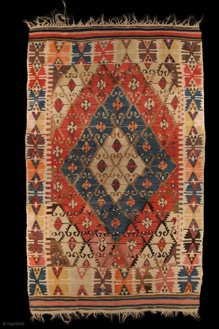 Sivrihisar kilim, Anatolia, 2. half of 19th century, 132x215cm Clear design, pure wool on wool, vegetable dyed colors, fine weaving. Professionaly cleaned. Good condition, no hole, some minor oxidized browns.