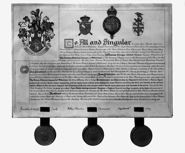 Grant of Coat of Arms to Willenhall, 1935