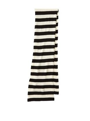 Portolano Women's Cashmere Striped Scarf (Black/White)