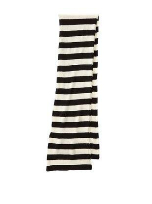Portolano Women's Cashmere Striped Scarf (Black/White)