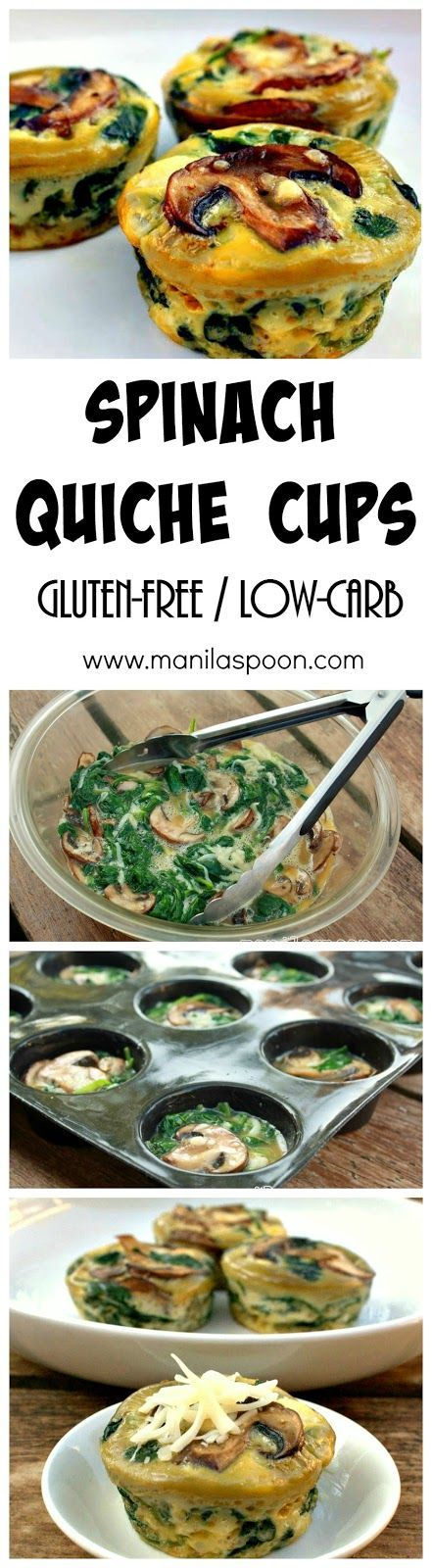Completely gluten-free and low-carb is this healthy and delicious SPINACH QUICHE CUPS that everyone will enjoy. You can tweak the recipe to add your favorite vegetables! | manilaspoon.com