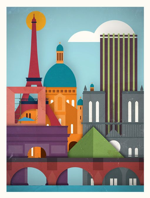 Paris Poster, 1 of 5 in a series of major cities, by Moxy Creative House, available for purchase