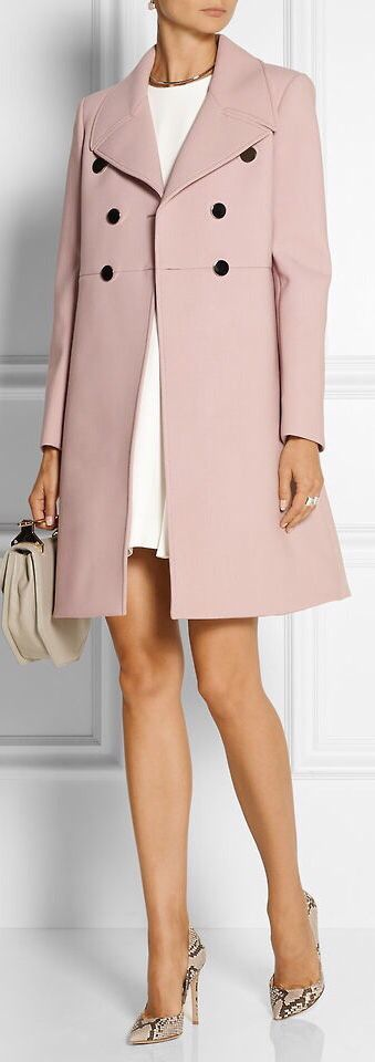 Women's fashion | Patterned heels, white dress and pastel coat