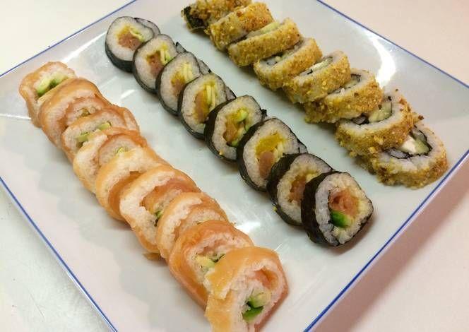 Sushi de salmón y sushi de bacalao