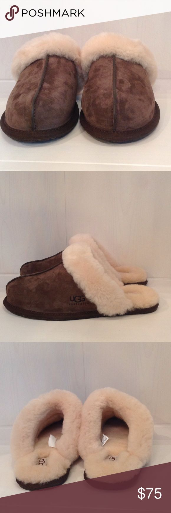 Ugg Women's Scufffette II Espresso 5661 The Scuffette II sets the standard for feel with soft suede, a plush sheepskin collar, and a natural wool interior. A cork-infused rubber sole pads this slipper with function and readies it for light outdoor wear.  100% Authentic UGG Scuffette II Slipper, Espresso color, box is damaged, Women's shoe, US Size 9  Sheepskin and water-resistant Silkee suede  Sheepskin lining  UGGpure™ wool insole  Rubber outsole with cork  Nylon binding UGG Shoes Slippers