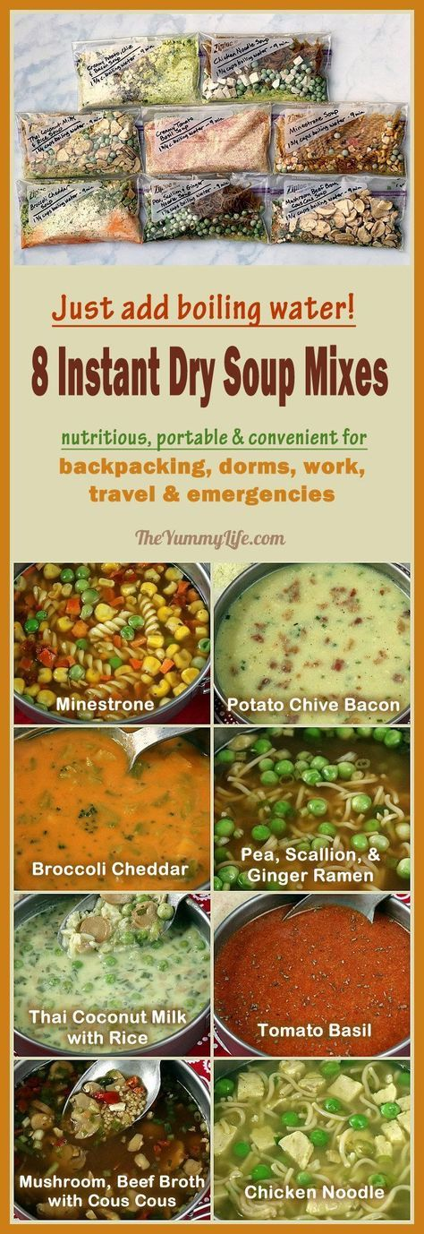 Just add boiling water for 8 instant, nutritious soups that are perfect for backpacking, camping, dorms, office, travel, and emergencies. A better, homemade, DIY cup-a-soup. From TheYummyLife.com