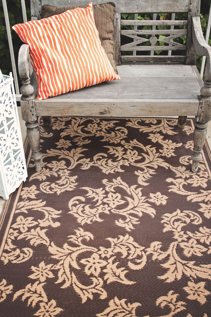 Fab Habitat Recycled Plastic Rug Indoor Outdoor Versailles Chocolate Brown