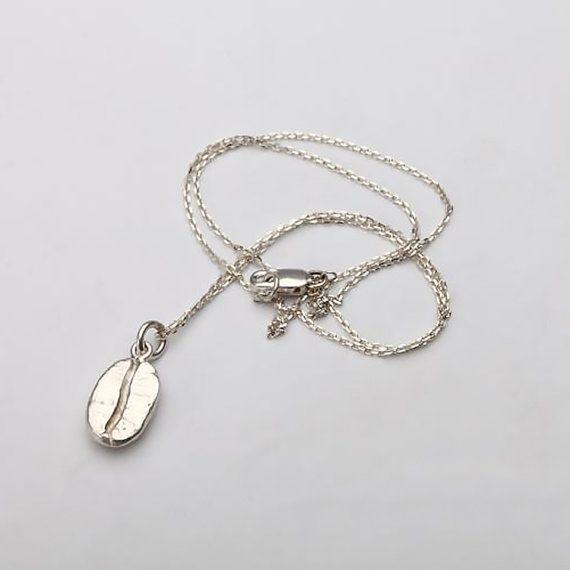 Silver Coffee Bean Necklace Coffee Jewelry by fangjewelrystudio