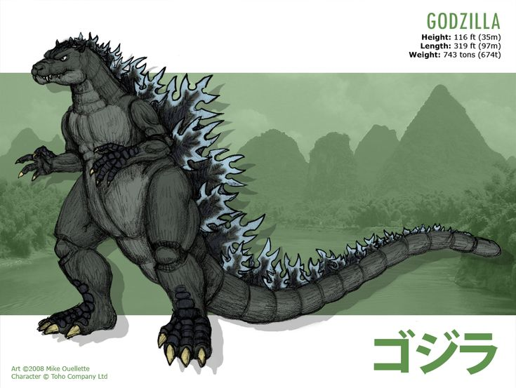 GODZILLA Height: 116 ft (35m) Length: 319 ft (97m) Weight: 743 tons (674t) Abilities and Characteristics: Godzilla craves a constant supply of nuclear radiation and becomes incredibly aggressive wh...