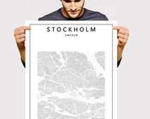 """24""""x36"""" best price - Wall decor Scandinavian Art - Stockholm Map Black and White - Sweden poster"""