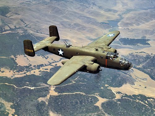 North American B-25 Mitchell S/N 112823 during a test flight in 1942. The North American B-25 Mitchell was an American twin-engined medium bomber manufactured by North American Aviation. It was used by many Allied air forces, in every theater of World War II, as well as many other air forces after the war ended, and saw service across four decades.