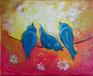 Some cute little blue birds on a wire - my friend Lori is such a creative artist.  Love her!