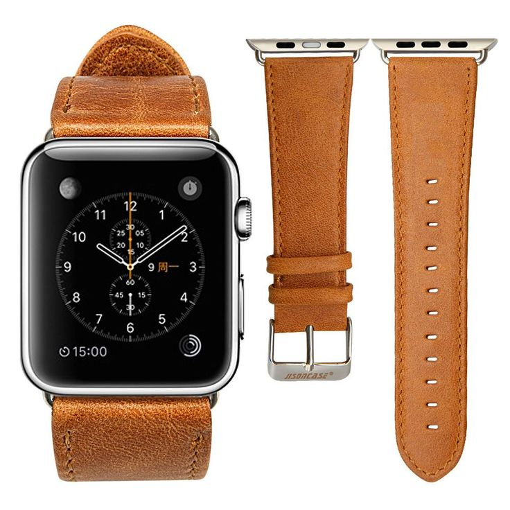 Best Retro Premium Leather Band Straps for Apple Watch. Brown and black