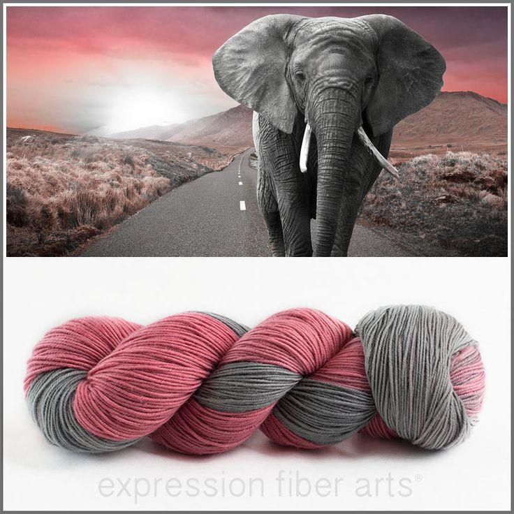 Expression Fiber Arts - PINK ELEPHANT 'RESILIENT' SUPERWASH MERINO SOCK, $24.00 (http://www.expressionfiberarts.com/products/pink-elephant-resilient-superwash-merino-sock.html)