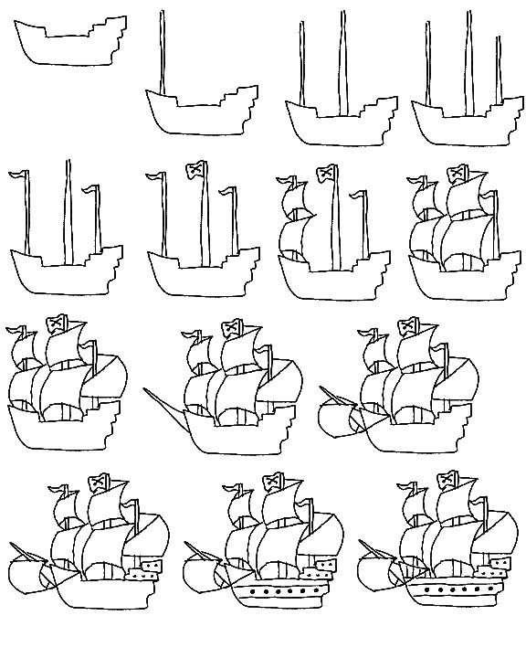 parts of a pirate ship diagram for kids | Learn to draw a pirate ship step by step