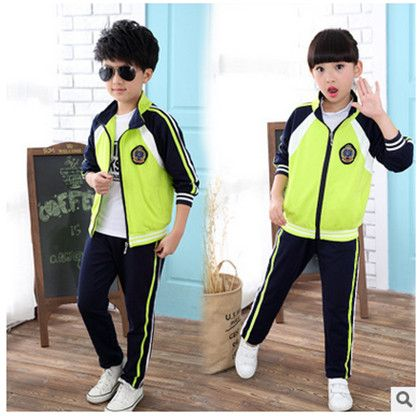Retail children's sports suit boys and girls 3-15 years old children big virgin suit uniforms Spring clothes Jacket + Trousers