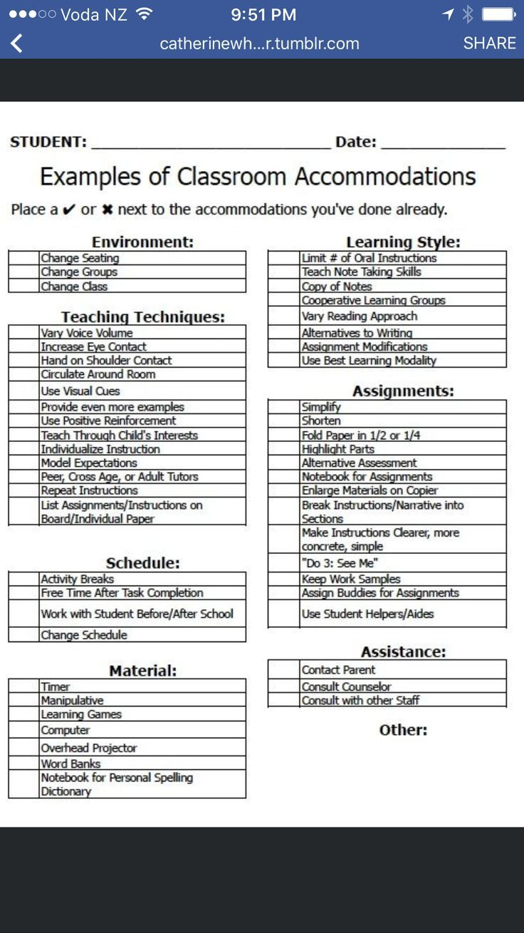 On Special Education How To Use Paper >> Examples Of Classroom Accommodations Teaching M S H S