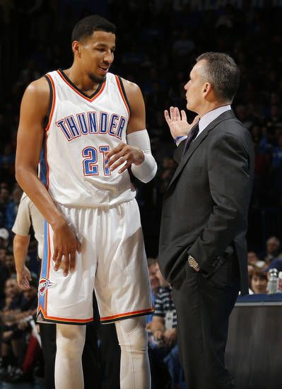 Oklahoma City head coach Billy Donovan talks with Oklahoma City's Andre Roberson during the NBA game between the Oklahoma City Thunder and Brooklyn Nets at the Chesapeake Energy Arena, Friday, Nov. 18, 2016. Photo by Sarah Phipps, The Oklahoman