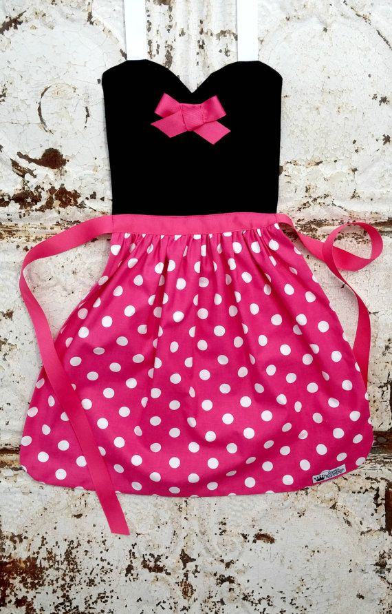 Pink dot MINNIE MOUSE costume APRON. by QueenElizabethAprons  $25