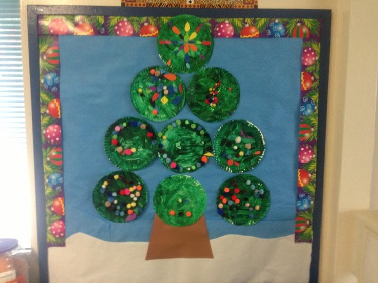 Christmas bulletin board using paper plates