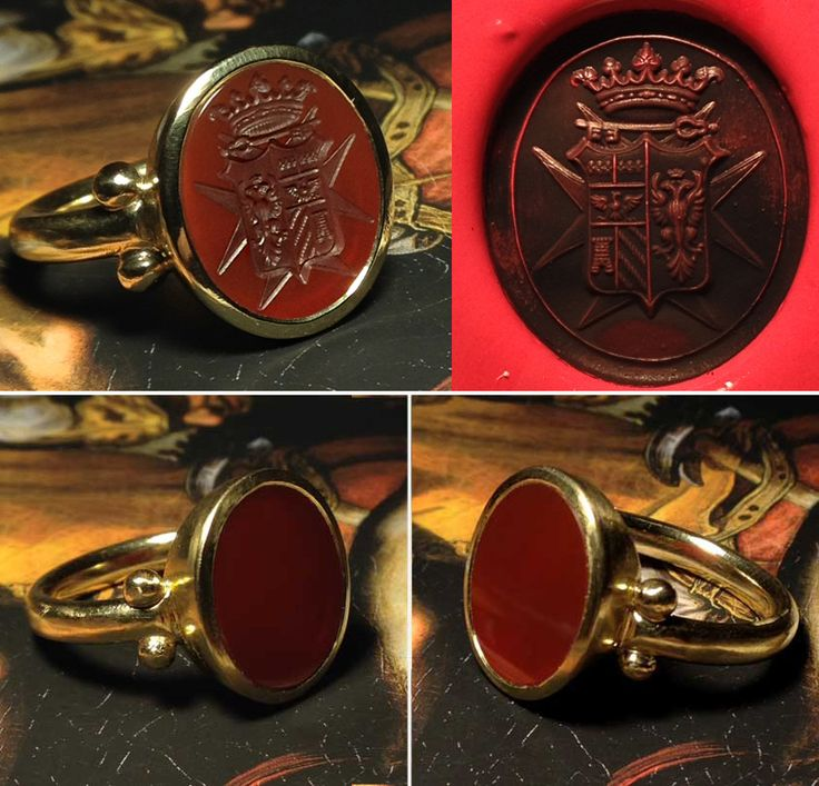 chevaliere ring - gold and precious stone engraving