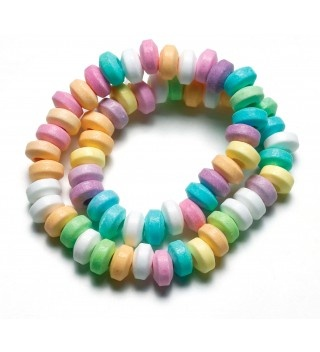 Candy sweet necklace, great to add in as a treasure hunt treat with chocolate eggs. 60p each from the www.fuschiadesigns.co.uk