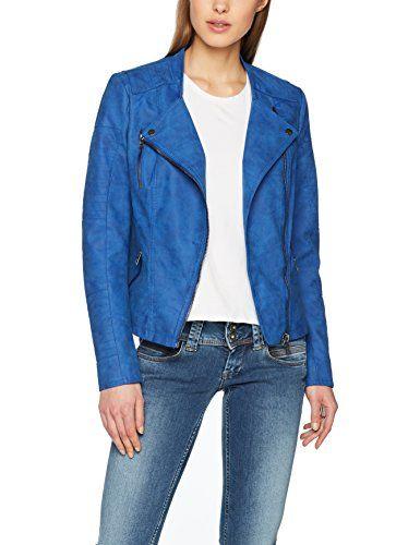 75dbc674 Only Onlava Faux Leather Biker OTW Noos Blouson Femme Bleu (Surf The Web  Surf The Web) X-Large (Taille Fabricant: 42)