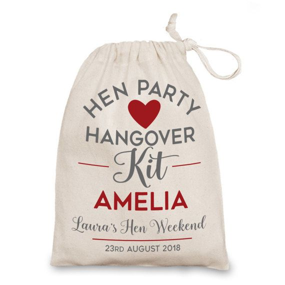 Hen Party hangover kit bag. Personalised Hen by JustBeautifulGifts