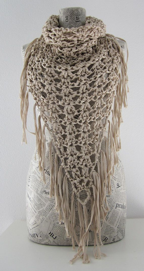 Crochet fringe cowl neck scarf in ecru cream by AmeBa77 on Etsy, $39.00: