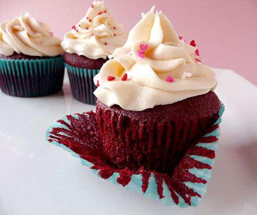 Red Velvet Cupcakes--You've never had a cupcake until you've tasted a homemade cupcake. Definitely worth the effort (and it IS an effort without a Kitchenaid). I generally add 2 extra tbsp of cocoa and whip the frosting with a mixer to make it light and fluffy!