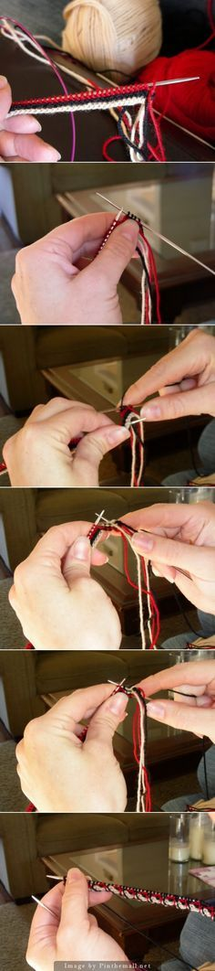 "#Knitting_Tutorial - I really love this Latvian Twist Cuff! It uses three colors in a cast on and then twists 4 stitches at a time to make the very beautiful edge you see in the last photo. Clear verbal instructions at the cmeknit.blogspot too. I can see this as an edge on a sweater at the hem and sleeves, and perhaps up the front too."" from #KnittingGuru ** http://www.KnittingGuru.etsy.com"