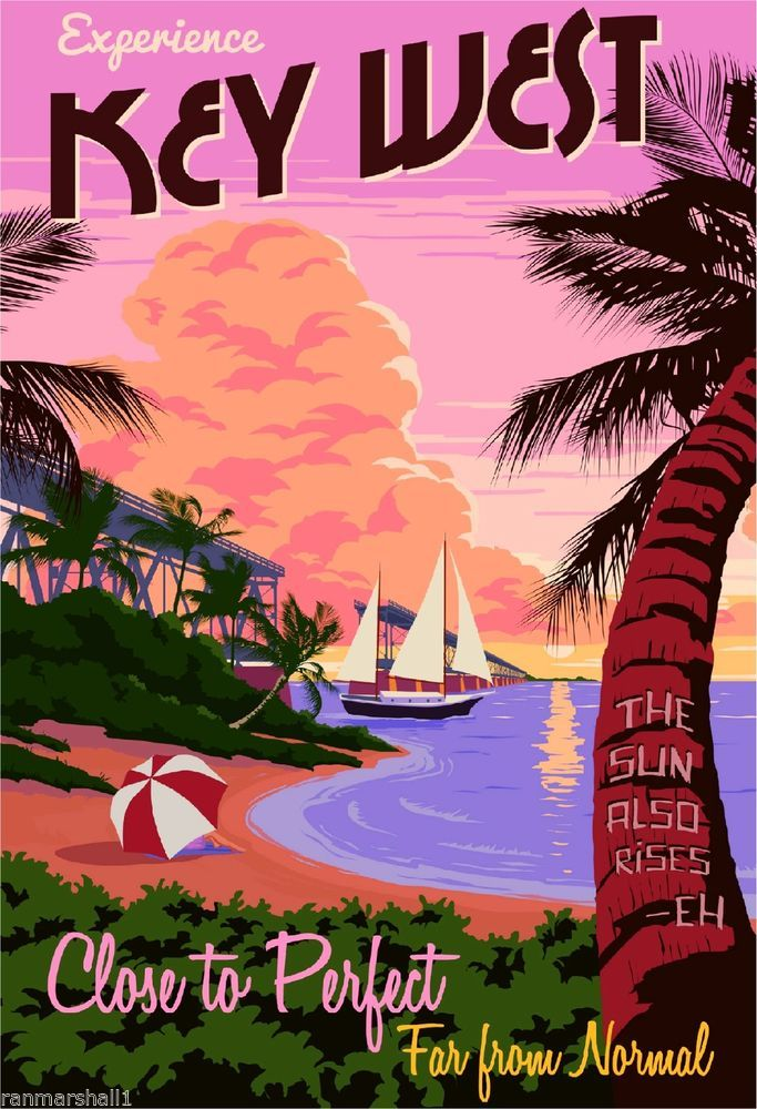 Key West Florida Vintage Travel Poster