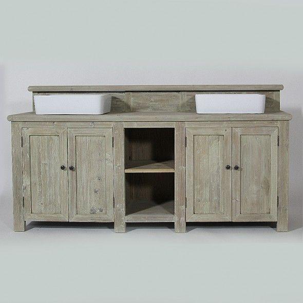 meuble de salle de bain deux vasques bois blanchi interior design pinterest interiors. Black Bedroom Furniture Sets. Home Design Ideas