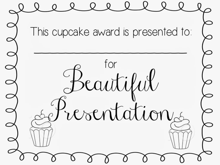 Cupcake Wars YW Activity- Printable certificates!