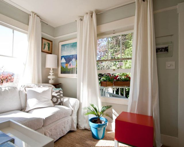great tips on how to work with small spaces: House Tours, Wall Colour, Living Rooms, Floors, White Curtains, Wall Color, Beth Teeny, Small Spaces, High Curtains