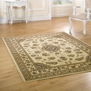 Large Beige Traditional Persian Style Wilton Rugs Heat-Set Wool Look Pile 240x330cm or 8x10.8: Amazon.co.uk: Kitchen & Home