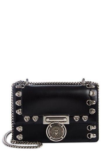 BALMAIN STUD GLACE LEATHER BOX SHOULDER BAG - BLACK. #balmain #bags #shoulder bags #leather #lace #