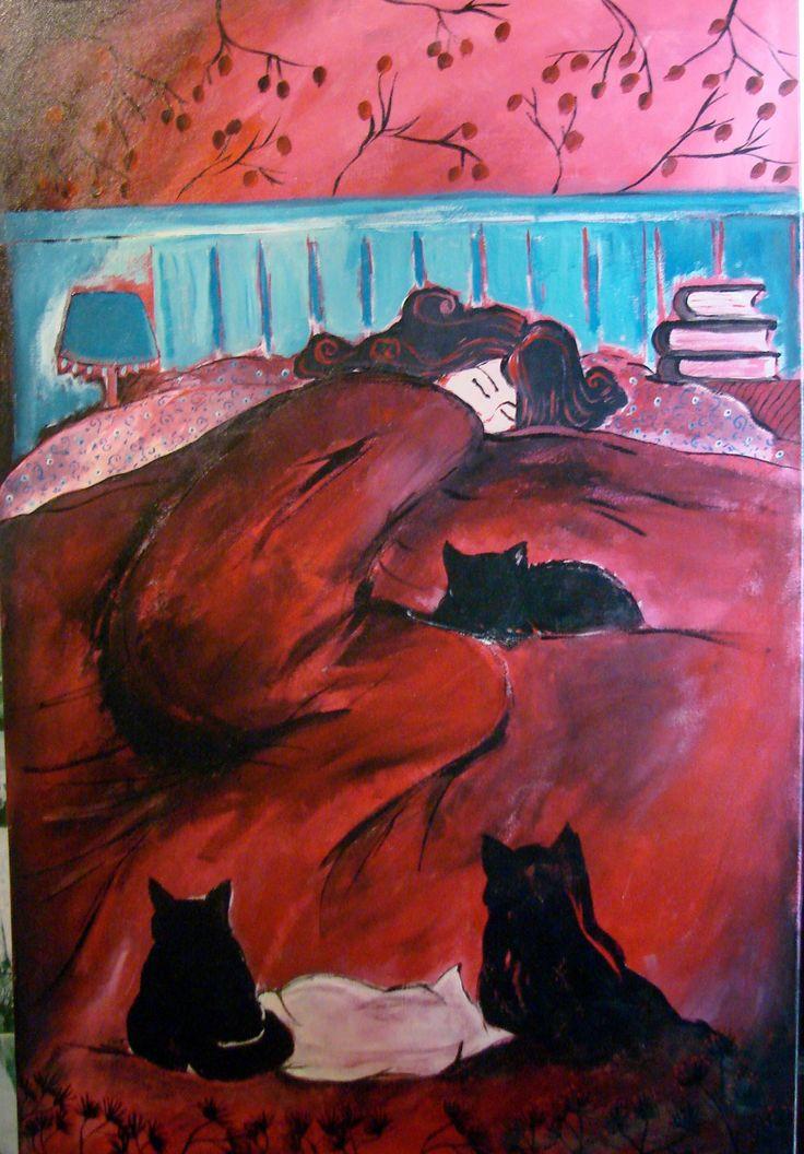 LA MINA DE LOS GATOS. Acrílico sobre lienzo de Silvia Ordoqui. Auto retrato.