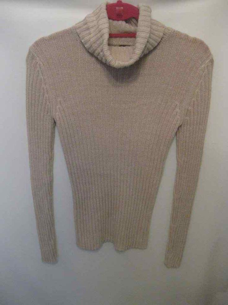 EUC Tan and Shiny Gold Thread Faded Glory Medium Sweater