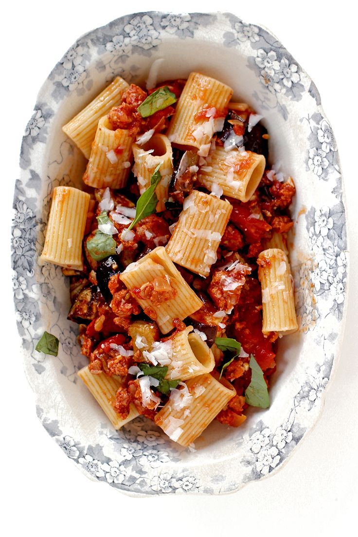 Rigatoni with Eggplant, Tomatoes, and Spicy Sausage | SAVEUR